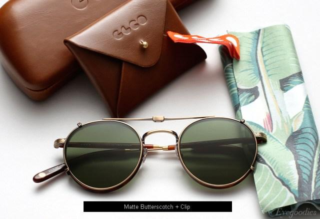 Garrett Leight Wilson eyeglasses - Matte Butterscotch + Clip