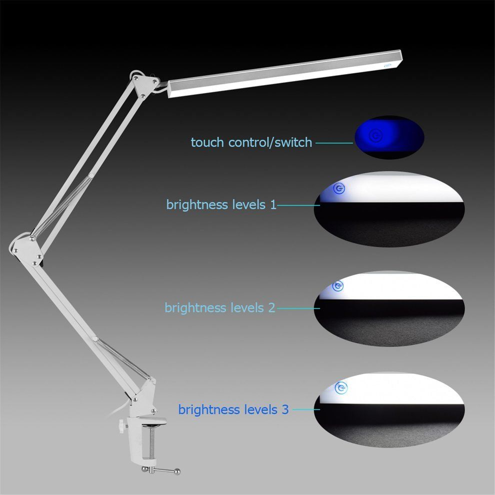 Folding Clip-on USB LED Table Lamp Long Arm Touch Control Dimmable Desk Lamp