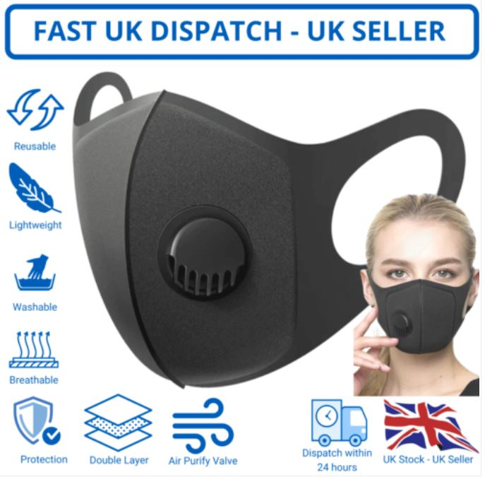 FACE MASK with AIR FILTER VALVE Washable Reuseable Black