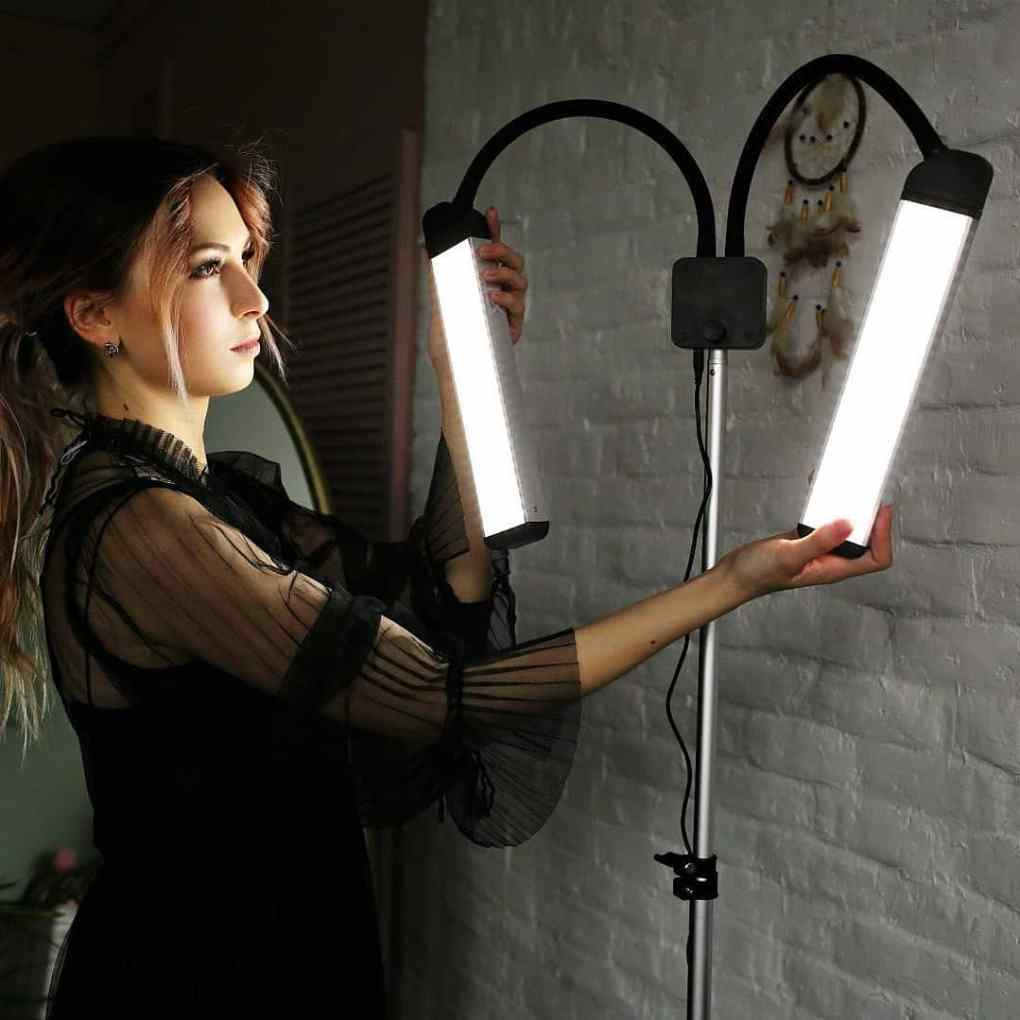 Dual Arm Lash Room LED Light 3000K-5600K with Stand