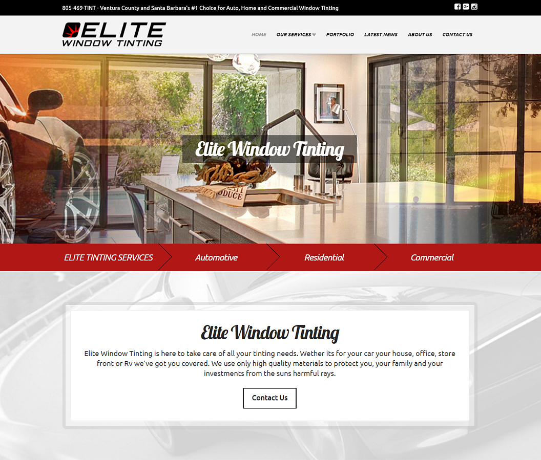 Elite Window Tinting Website
