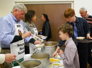 Speaker of the House Mike Busch & Annapolis Alderwoman Shelia Finlayson serve soup to diners last year at the 2012 SOUPer Bowl lunch for the Light House Shelter -  Photo: Charles Phillips