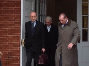 John R. Leopold, Robert Bonsib, and Bruce Marcus leave the Circuit Court to prepare closing arguments.