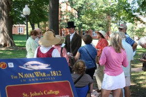 "Squire Frederick Taylor takes guests back to the time of Francis Scott Key on the new ""War of 1812 in Annapolis"" tour offered by Annapolis Tours by Watermark."