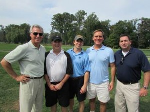 From left, Brian Gibbons, CEO Greenberg Gibbons Commercial,  Jeff  Wellener, Mark Gibbons, Clarke Aburn, and Michael McHale, President and CEO, Hospice of the Chesapeake, at the nonprofit's 11th Annual Golf Tournament held at the Queenstown Harbor Golf Links in Queenstown, MD.