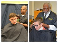 "(l to r) New senior barber at the USNA, Leroy Evans (serving since 1982). Former senior barber Ernest ""Smitty"" Smith (serving since 1981) giving what will be one of his final haircuts."