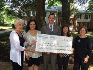 left to right; Becki Kurdle, Vice-Chair, CFAAC Board of Trustees; Loise Novochadlo, Executive Director, Center of Help; John Palinski, Executive Director, Seeds 4 Success; Leslie Overholser, Executive Director, Anne Arundel Conflict Resolution Center; Linda Barbour, Executive Director, STAIR (Courtesy photo)