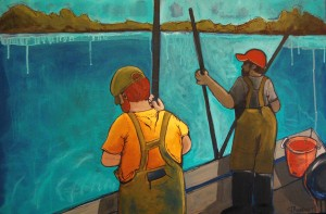 "Jennifer Wilkinson Rynbrandt, ""Oystermen: Big Boys in Rubber Pants"", Acrylic on canvas for Holiday Shoppe at West Annapolis Artworks"
