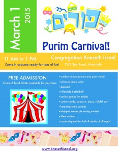 Purim Carnival flyer