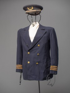 Chesapeake Bay ferryboat captain Daniel G. Higgin's uniform hat and jacket will be presented to the public for the first time in the exhibition A Broad Reach: 50 Years of Collecting, which opens on both floors of the Chesapeake Bay Maritime Museum's Steamboat Building on Saturday, May 23, 2015. Details are at www.cbmm.org. Digital image by David W. Harp © Chesapeake Bay Maritime Museum.