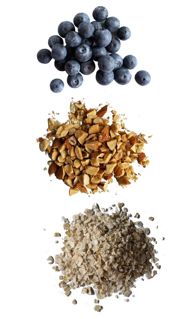 oatmeal, nuts, blueberries