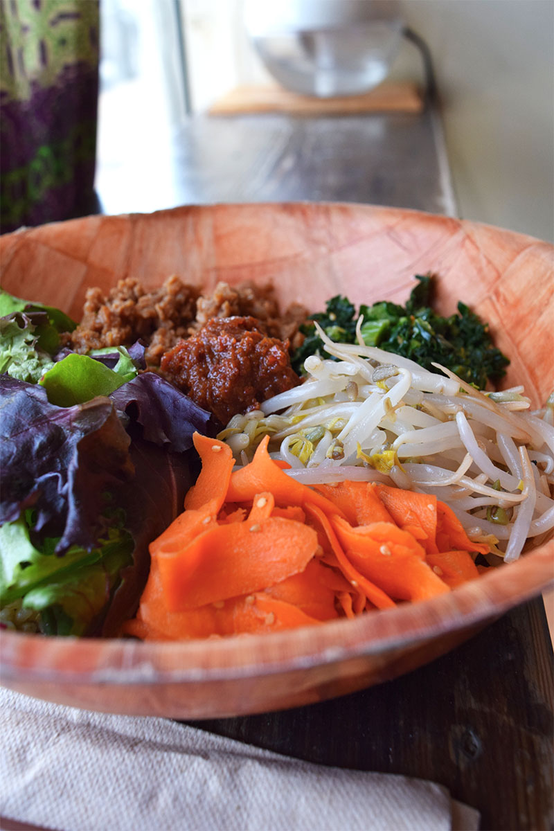 Peace Cafe bibimbap, healthy lunch Waikiki
