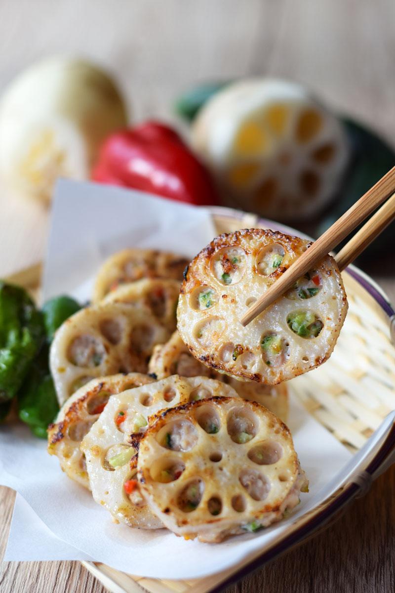 Japanese renkon stuffed with minced meat