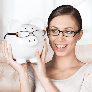 Woman and piggy bank with glasses