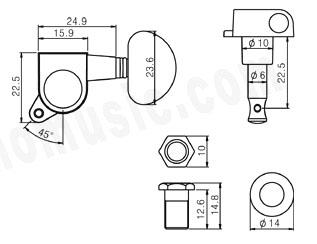 3L+3R Machine Head,Chrome,Pearl White Button,J-P3-CR