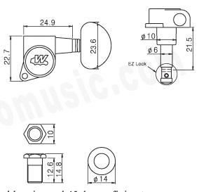 Wilkinson E-Z-LOK,3L+3R,Chrome,Contemporary flat sided