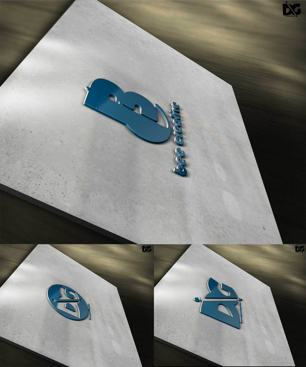 3D Plastic Logo Mockups PSD