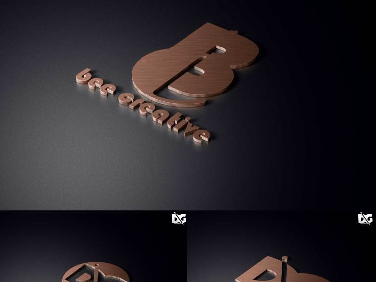 Premium Black Copper PSD Logo Mockup
