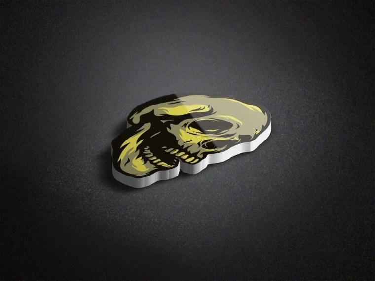 3D Skull Logo Mockup