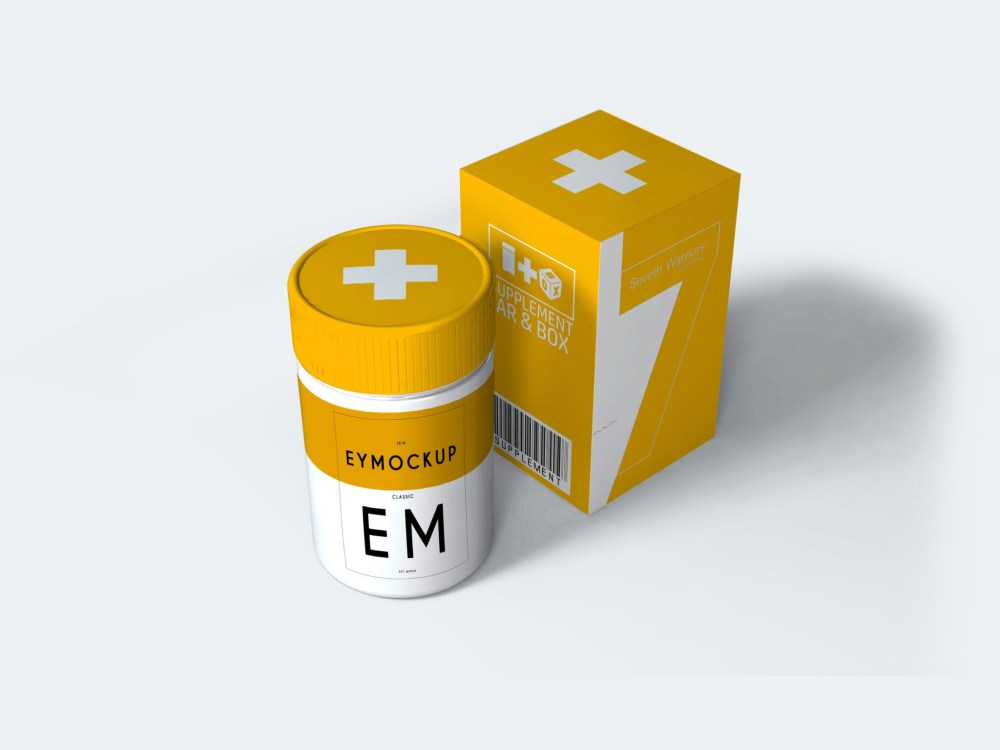 Small Pills Packaging Mockup