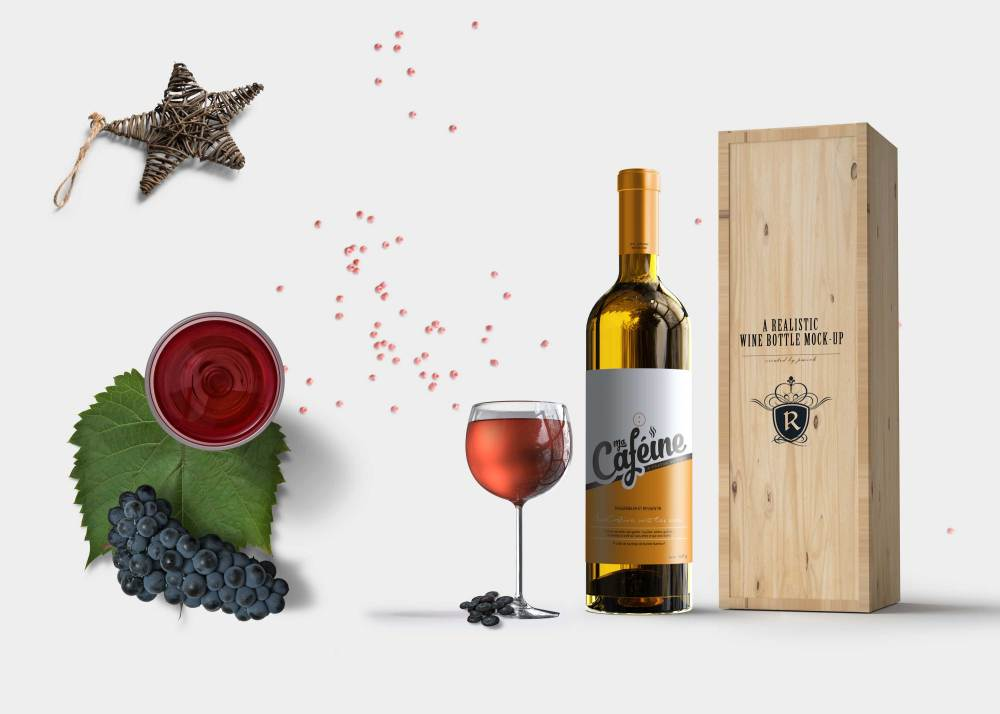 Premium Festive Wine Bottle Packaging Mockup