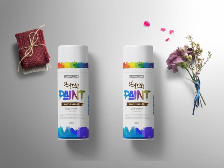 Prime Spray Can Bottle Label Mockup