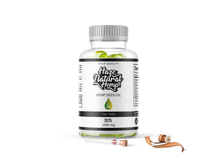 CBD Capsules Small Bottle Label Mockup