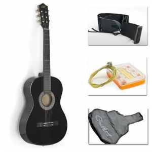 38 Black Acoustic Guitar Starter Package (Guitar, Gig Bag, Strap, Pick)
