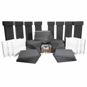Auralex SFS184CHA SFS-184 SonoFlat System; 32- 2'x2'x2 Panels in Charcoal; 8- 12x6x48 SonoColumns in Charcoal; 8- SonoCollars in Charcoal; 6- 21 34x21 34x 2 58 Q'Fusor Diffusors in White Only;12- Tubes of Tub