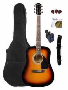 Fender FA-100 Dreadnought Acoustic Guitar Bundle with Gig Bag, Tuner, Strap, Picks, Strings - Sunburst