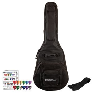ChromaCast Acoustic Guitar 6-Pocket Padded Gig Bag with Guitar Strap and Pick Sampler