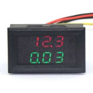 DROK&reg 0.28'' DC 0-100V 10A Digital Voltmeter Ammeter Voltage Current Tester Gauge Red Green Bright LED Display Five Wires Volt Amp Meter for Solar Battery Monitor Car Motor Panel Mount