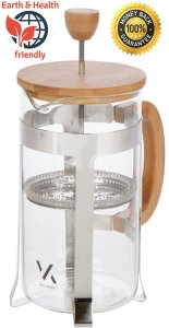 Gourmet Bamboo French Press - Coffee Espresso Maker - With Triple Filters, Stainless Steel Plunger, Heat Resistance Glass - Single Serve - Espresso, Tea, Coffee Plunger (350ml 12oz)