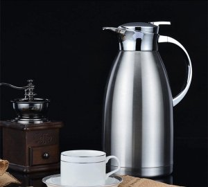 Hiware Stainless Steel Insulated Carafe with Lid, Double Walled Vacuum Carafe, Large Thermal Serving, Water Pitcher, Thermos Beverage Server, Coffee Flask, 64-Ounce