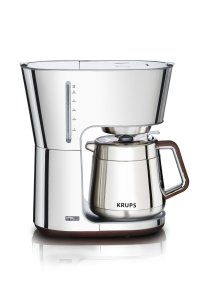 KRUPS KT600 Silver Art Collection Thermal Carafe Coffee Maker with Chrome Stainless Steel Housing, 10-Cup, Silver