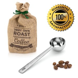 Premium Coffee Scoop by Amerigo - 1 Tablespoon exact - Stainless Steel Measuring Spoon - Long Handled For The Best Usage