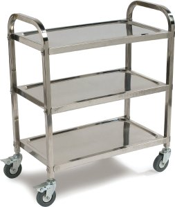 Carlisle UC4031529 Knockdown Stainless Steel 3 Shelf Utility Service Cart, 400 lb. Capacity