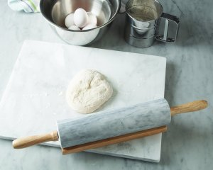 Fox Run Brands White Marble Rolling Pin with Wood Base