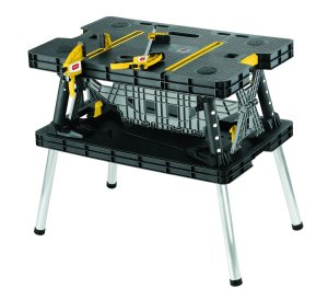 Keter 21.65 x 33.46 x 29.7 in. Folding Compact Workbench Work Table +Solution