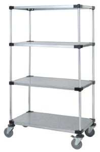 Quantum Storage Systems M2460SG46 4-Tier Wire Shelving Mobile Cart with 5 Stem Casters