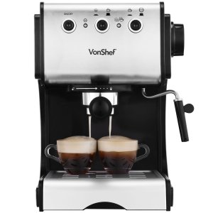 VonShef Premium Stainless Steel 1050W 15 Pump Espresso Coffee Maker Machine With Cup Warming Plate