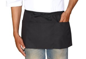 Bistro-Garden-Craftsmen Commercial 3 Pockets Waist Apron - Set of 2, Durable, Comfortable, Easy Care, Restaurant Waitress Waiter Half Aprons - Black (24 x 12) by Utopia Wear