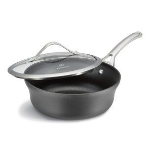 Calphalon Contemporary Hard-Anodized Aluminum Nonstick Cookware, Shallow Sauce Pan, 2 12-quart, Black