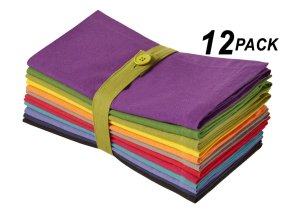 Cotton Craft Dinner Napkins - Multicolor 12 Pack - Pure 100% Cotton - 20x20 Oversized - Set contains one each Magenta, Lime, Ming Red, Stone, Black, Lavender, Grape, Orange, Teal, Navy, Mustard & Leaf