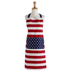 DII Cotton Unisex Bib Apron With Adjustable Neck Strap & Waist Ties, American Flag