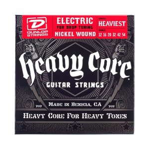 Dunlop DHCN1254 Heavy Core Nickel Wound Guitar Strings, Heaviest, .012-.054, 6 StringsSet