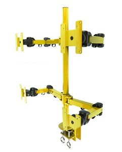 MonMount Quad LCD Monitor Stand Desk Clamp Holds Upto 4 27-Inch LCD Monitors, Yellow (LCD-2020Y)