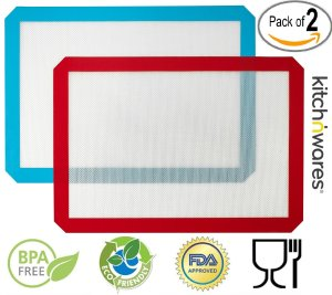 Non-Stick Healthy Silicone Cooking & Baking Mat - 2 Pack (red+blue) 11-58 & 16-12 - For Commercial Kitchens, Restaurants, Home Kitchens, Bakeries, BBQ, Stove, Oven, Etc. - By Kitch N' Wares