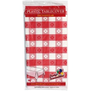 Party Dimensions 54 X 108 Inch Rectangle Tablecover, Red and White, Gingham Pattern