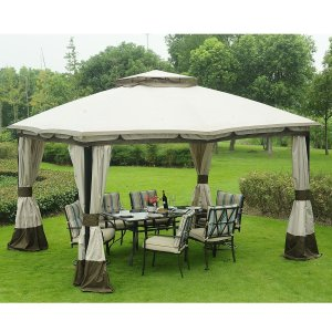 Soft-Top Gazebo 12'x10' Rectangle (Beige)